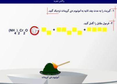 دانلود انیمیشن و فلش آزمایش تجزیه آمونیوم دی کرومات