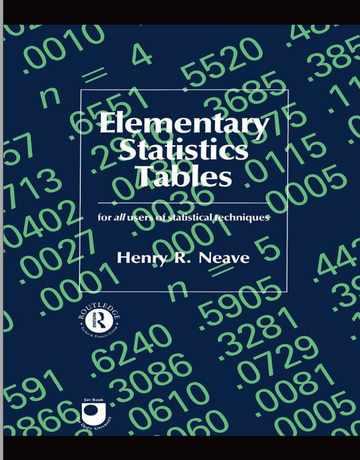 کتاب جدول های آماری اصلی و مقدماتی ویرایش اول
