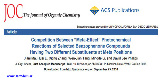 دانلود مقاله شیمی آلی Competition Between Meta-Effect Photochemical Reactions