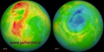 علت تخریب لایه ی اوزون در قطب ها